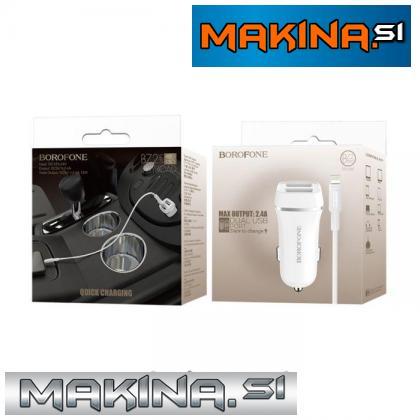 BOROFONE Avto polnilec - 2.4A 2x USB + kabel IPHONE lightning (s